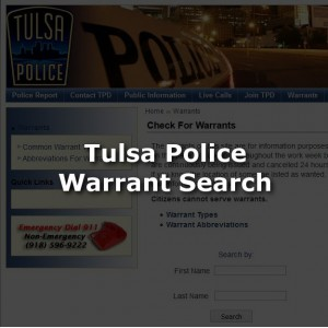 Tulsa Police Warrant Search